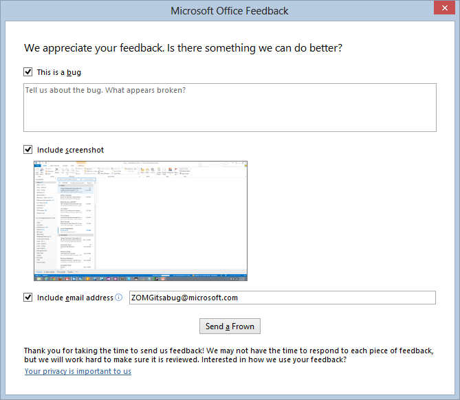Give Feedback with Screenshot in Office 2013
