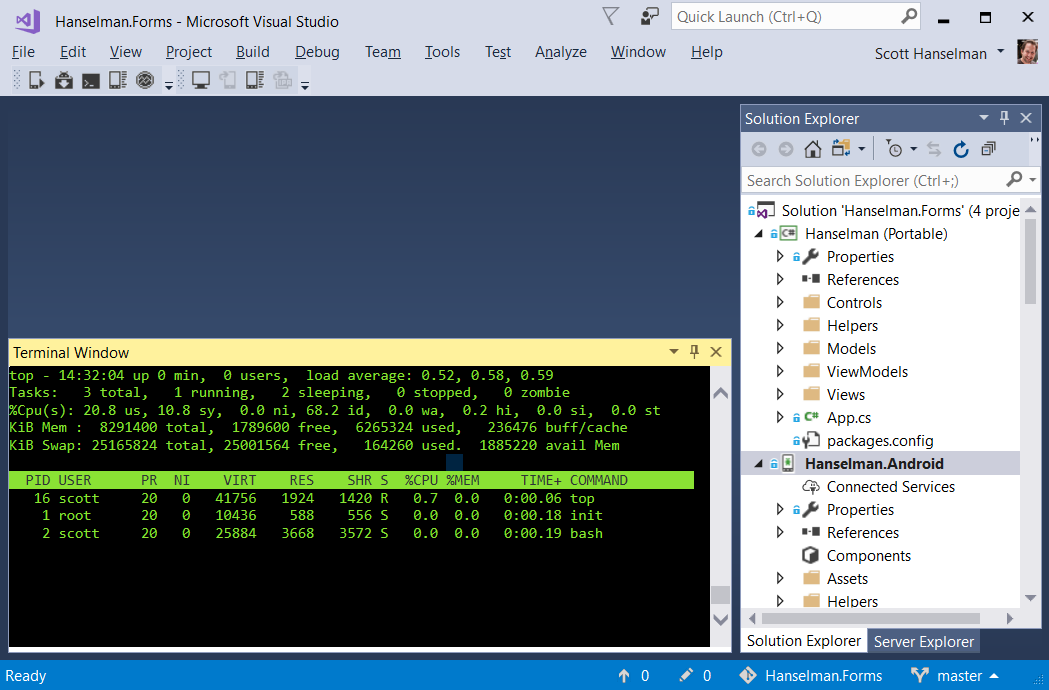 And just to freak you out, here's top running inside Visual Studio.
