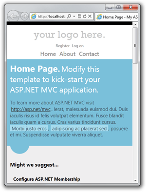 The new responsive design of the MVC4 HTML5 default template