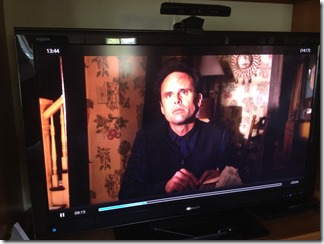 "Watching ""Justified"" on my HDTV via AirPlay on an iPad talking to a Raspbmc"