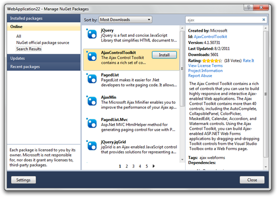 Installing AjaxControlToolkit from NuGet