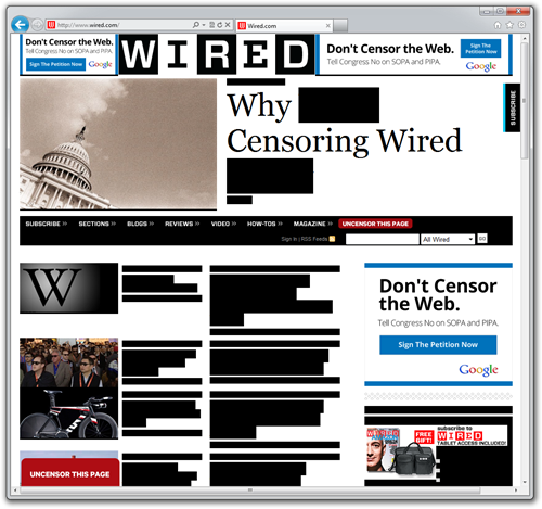 Wired redacts text