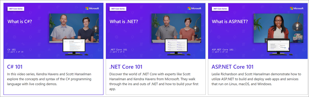 Lots of .NET learning videos and tutorials up on YouTube, free!