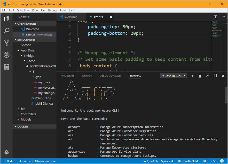 Azure Cloud Shell in VS Code Azure Cloud Shell - your own bash shell and container - right inside Visual Studio Code - image 56f4a7c1 d05e 4626 a1e4 2beee6b21b3a - Azure Cloud Shell – your own bash shell and container – right inside Visual Studio Code