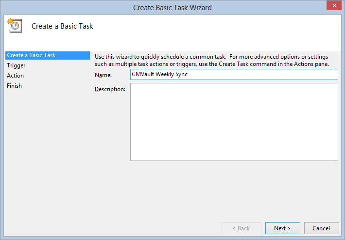 Create Basic Task Wizard - Task Name