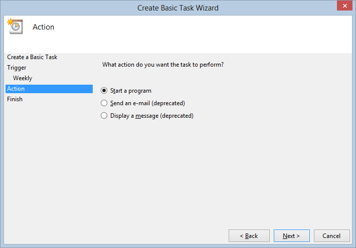 Create Basic Task Wizard - Start a program