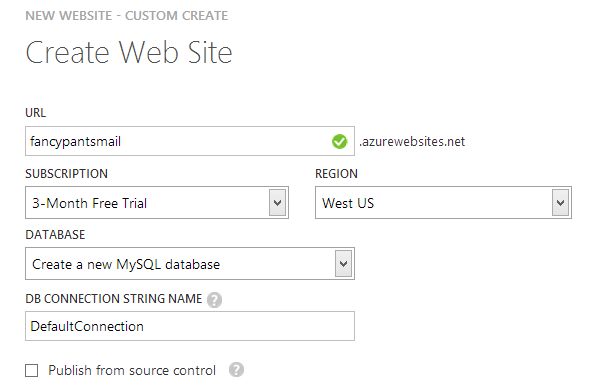 Making a new website with a new MySQL DB