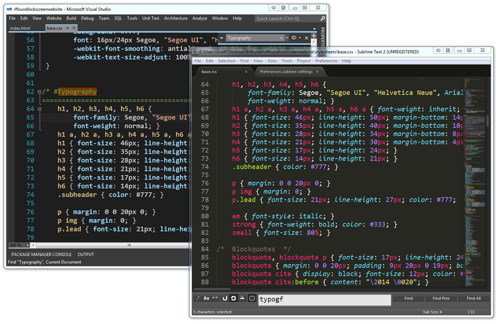 VS11 with Dark Theme next to Sublime Text 2