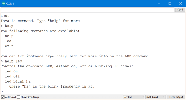 Serial port monitor in Arduino talking to a Command Line Interface