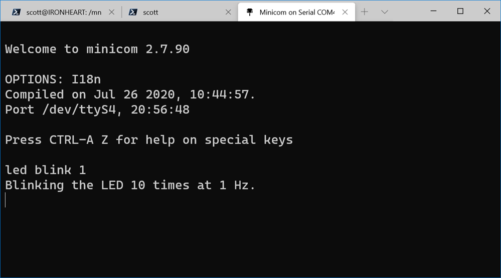 Serial port shell with WSL and Minicom