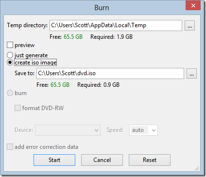 Burn image from DVDStyler