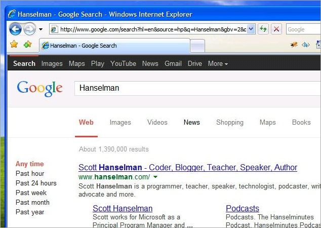 The results of the Google Search for Hanselman
