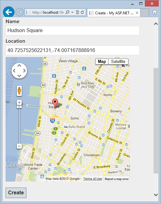 Creating a location with a clickable Google Map