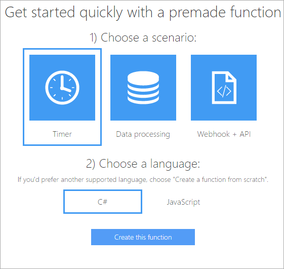 Getting started with Azure Functions - Create This Function