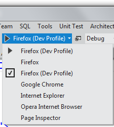 Menu in VS dropped down showing my new Firefox Dev Profile