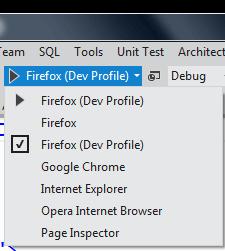 Menu in VS dropped down showing my new Firefox Dev Profile