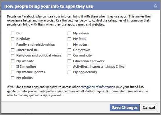 "Uncheck all the checkboxes at ""How people bring your info info apps they use."""