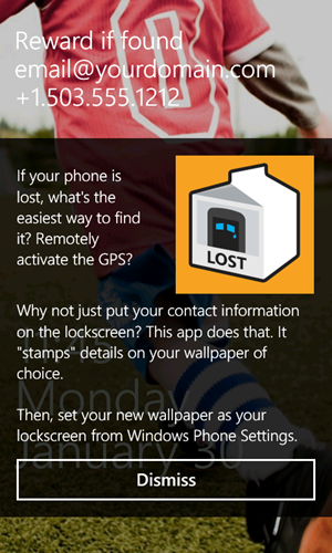 A screenshot of my new app Lost Phone Screen for Windows Phone 7