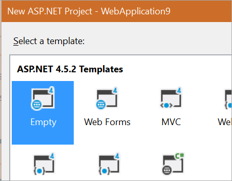 New Empty ASP.NET Project