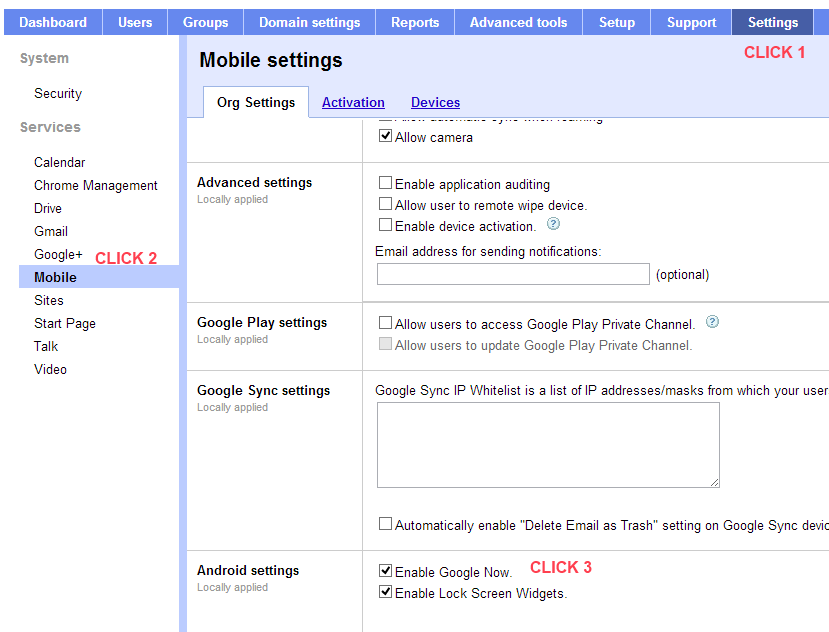 Click Settings, Mobile, Enable Google Now