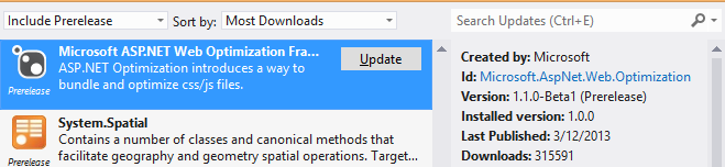 "Get Optimization Updates by ""including PreRelease"""