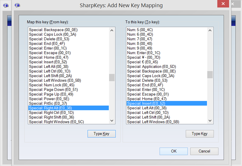 Mapping Right Alt to Insert in SharpKeys for my Surface Pro 3