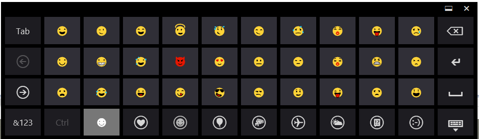 Windows 8.1 Emoji Touch Keyboard