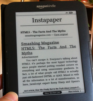 Kindle Instapaper Photo by Joshua Kaufman via Flickr under CC BY-SA 2.0 http://www.flickr.com/photos/joshuakaufman/5020686891/