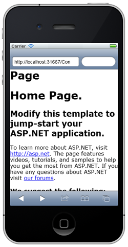 The Default Mobile Web Forms page in an iPhone