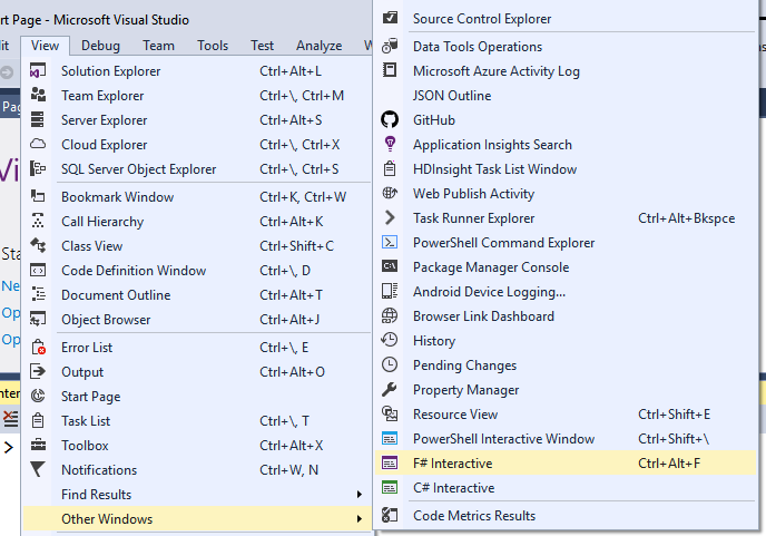 C# Interactive and F# Interactive in VS