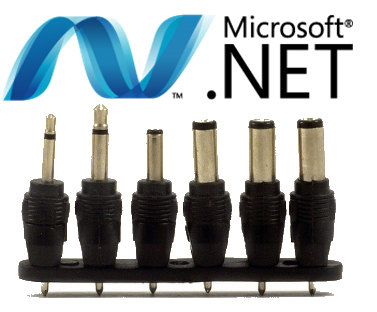Crazy random logo of evocative clipart combining the .NET Logo and some universal powerplugs into an unofficial logo