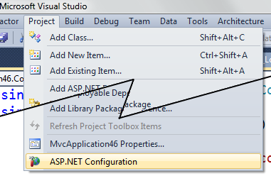 Selecting ASP.NET Configuration site from the Project Menu