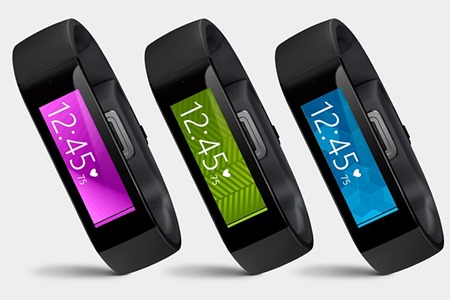 Microsoft Bands in various colors