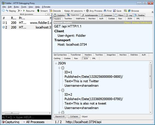 ASP.NET Web API in Fiddler