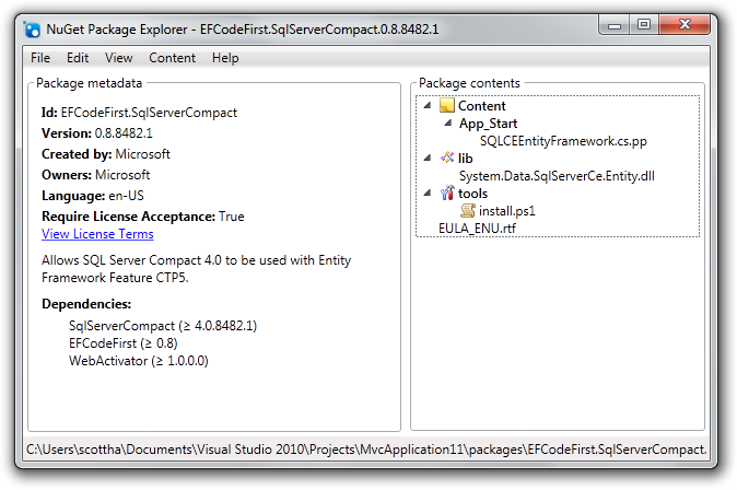 NuGet Package Explorer - EFCodeFirst.SqlServerCompact.0.8.8482.1
