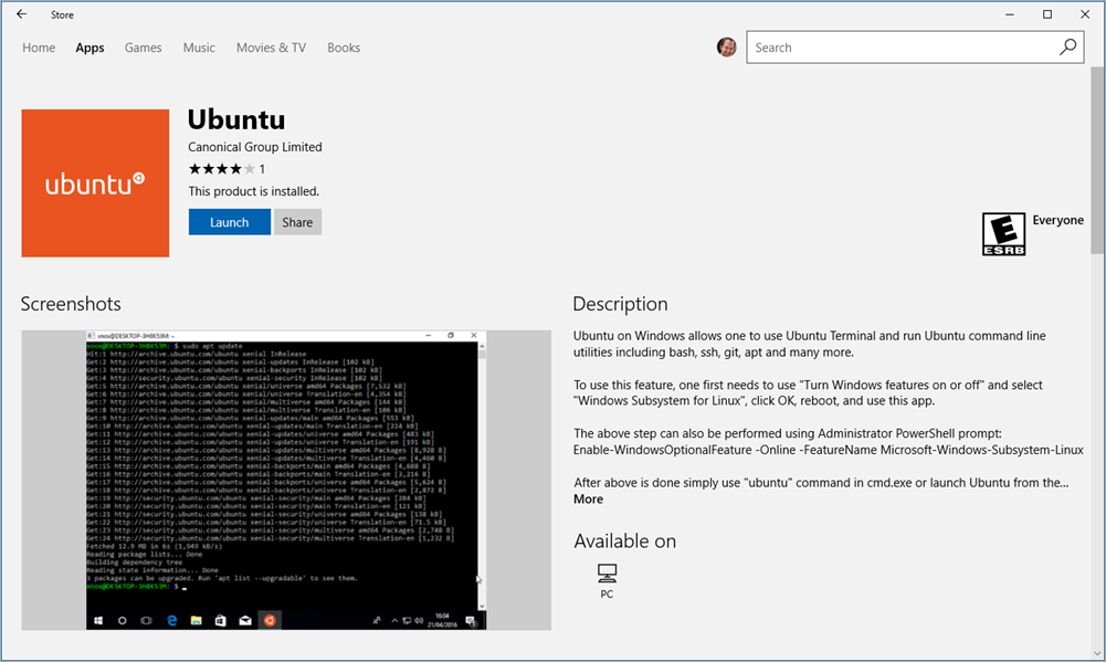 Ubuntu now in the Windows Store: Updates to Linux on Windows