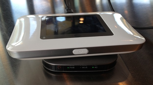 The AT&T Unite LTE Hotspot sitting on a Clear Hotspot. The Unite is much larger
