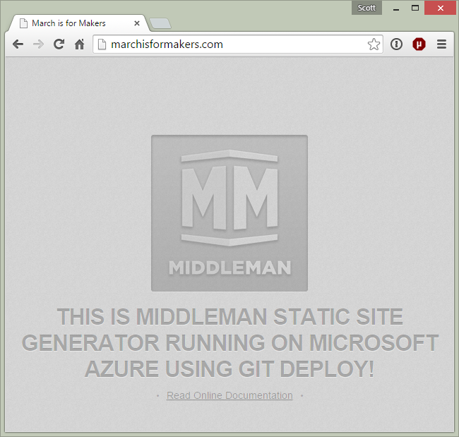 Middleman Static Site Generator on Azure
