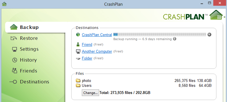 Seeding my CrashPlan account