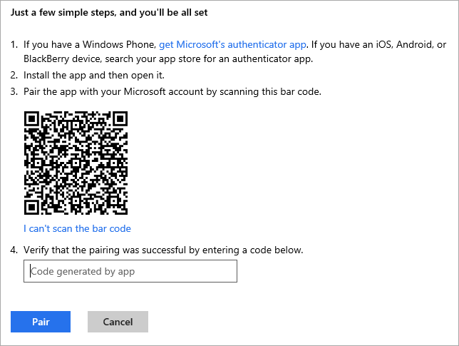 Microsoft accounts can scan a bar code to setup their two factor auth.