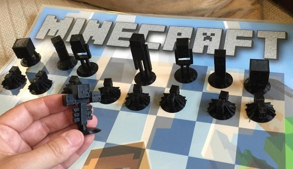 Minecraft 3D Printed Chess Set