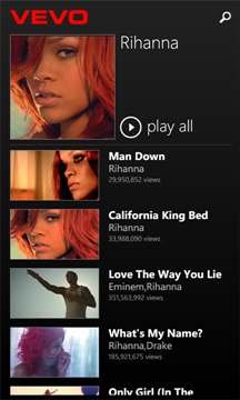 Vevo for Windows Phone
