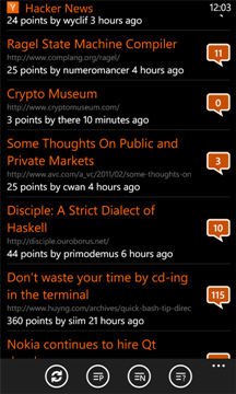 Hacker News for Windows Phone
