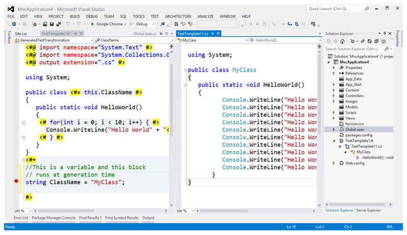 T4 in Visual Studio 2012 has Debugging!
