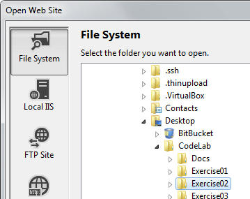 Opening a folder as a web site