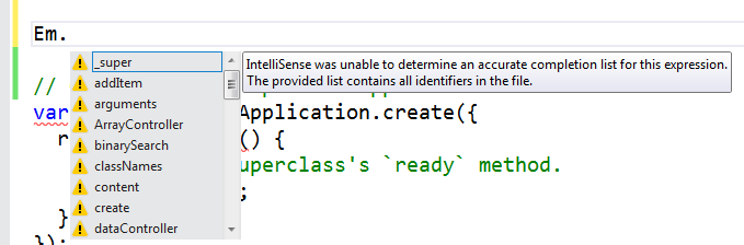 Ember in VS without intellisense