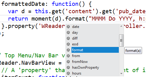 Intellisense available on dates with VS11 and moment.js