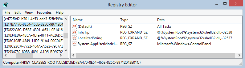 God Mode in the registry is a GUID pointing to the Control Panel