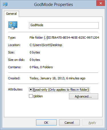 God Mode is a folder with a GUID at the end