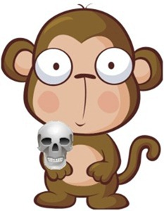 A monkey with a skull. Oh yes.
